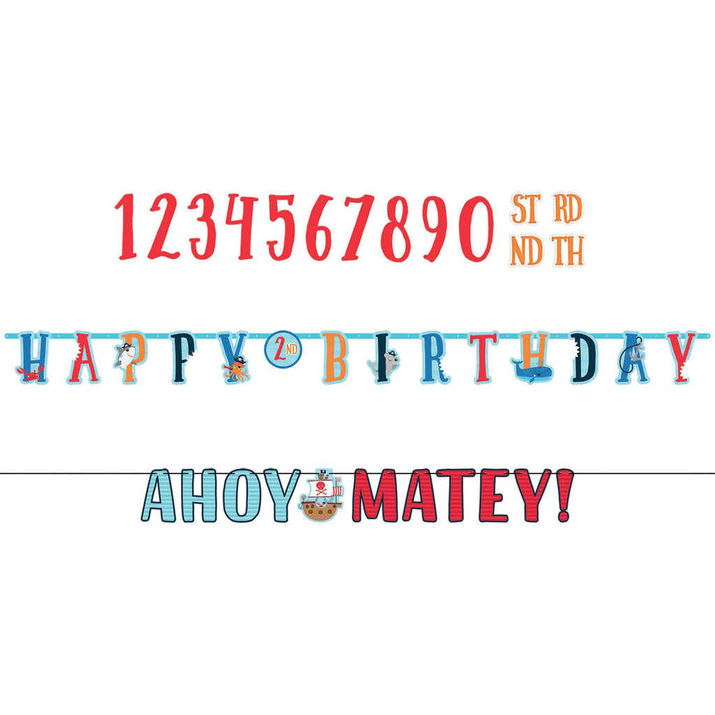 Ahoy Birthday Personalized Jumbo Letter Banner Kit