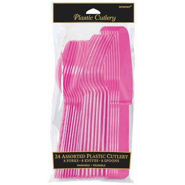 Assorted Plastic Cutlery Set - Bright Pink - Pack of 24