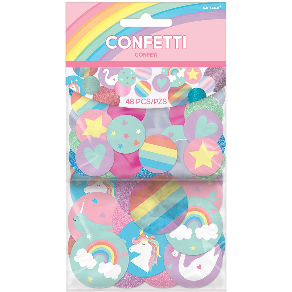 Magical Rainbow Birthday Giant Confetti - Glitter Paper - Pack of 48