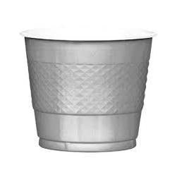 Plastic Cups 9oz - Silver - Pack of 20