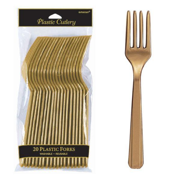 Plastic Cutlery Forks - Gold - Pack of 20