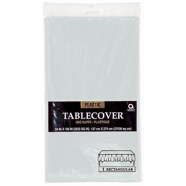Plastic Table Cover 54in x 108in - Silver