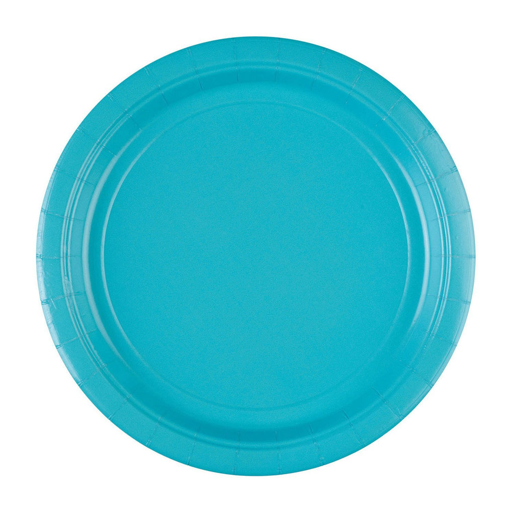 Round Paper Plates 9in - Caribbean Blue - Pack of 8