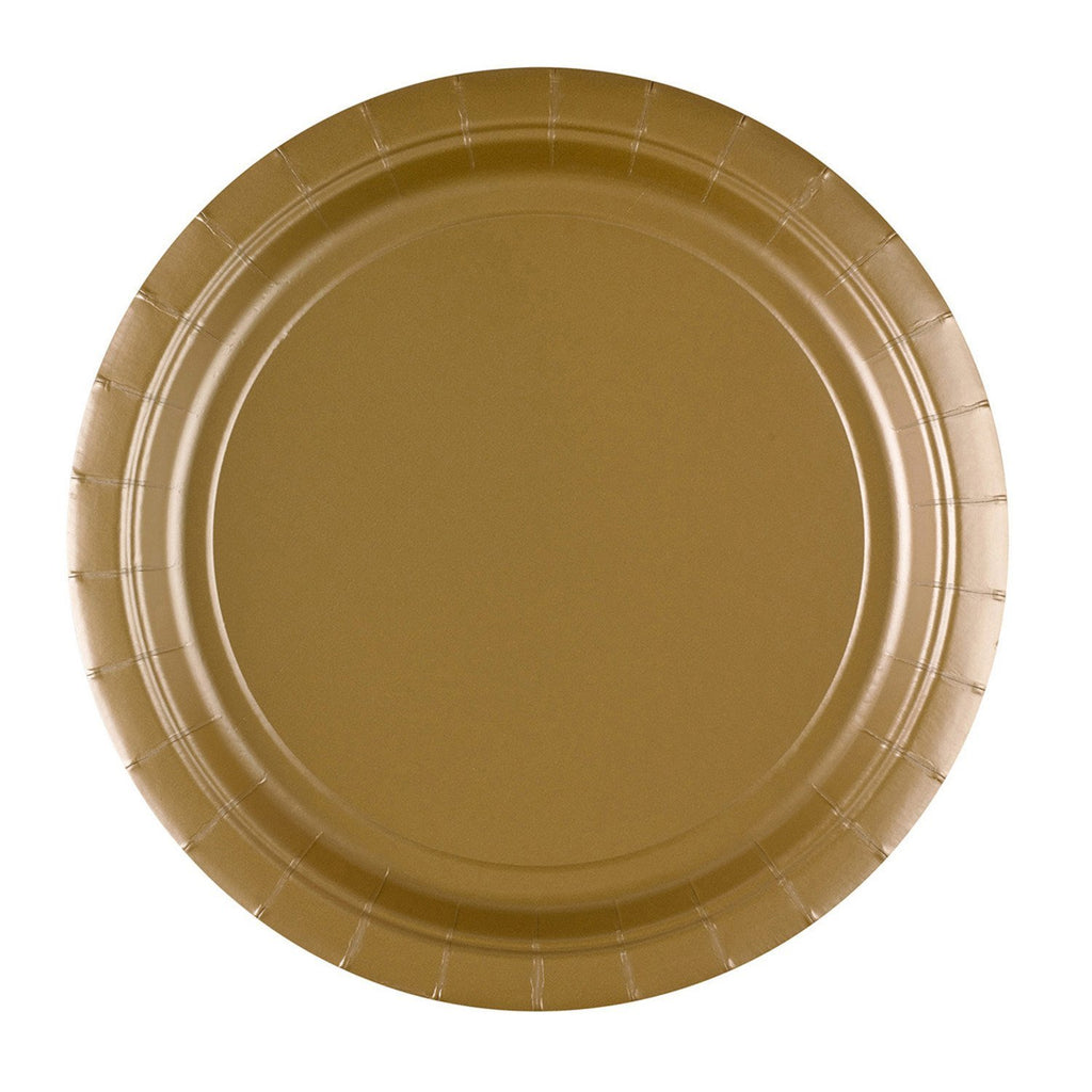 Round Paper Plates 9in - Gold - Pack of 8