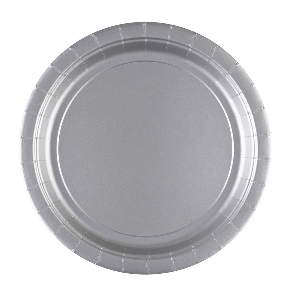 Round Paper Plates 9in - Silver - Pack of 8