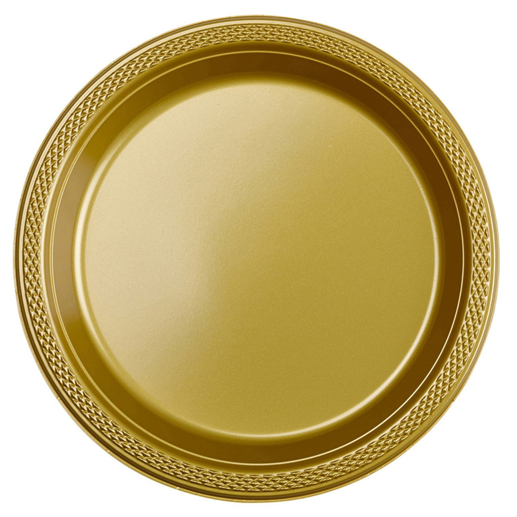 Round Plastic Plates 7in - Gold - Pack of 20