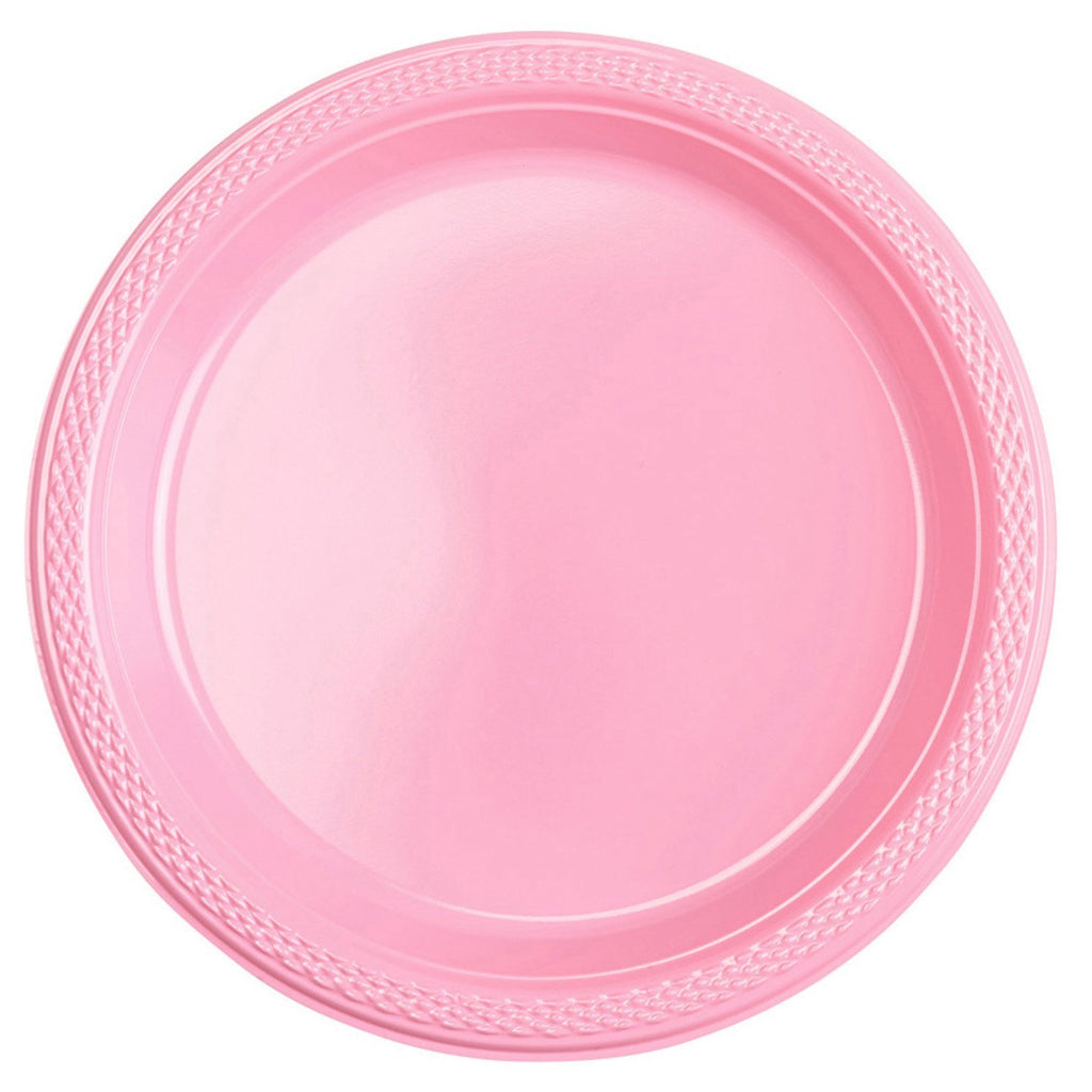 Round Plastic Plates 7in - New Pink - Pack of 20