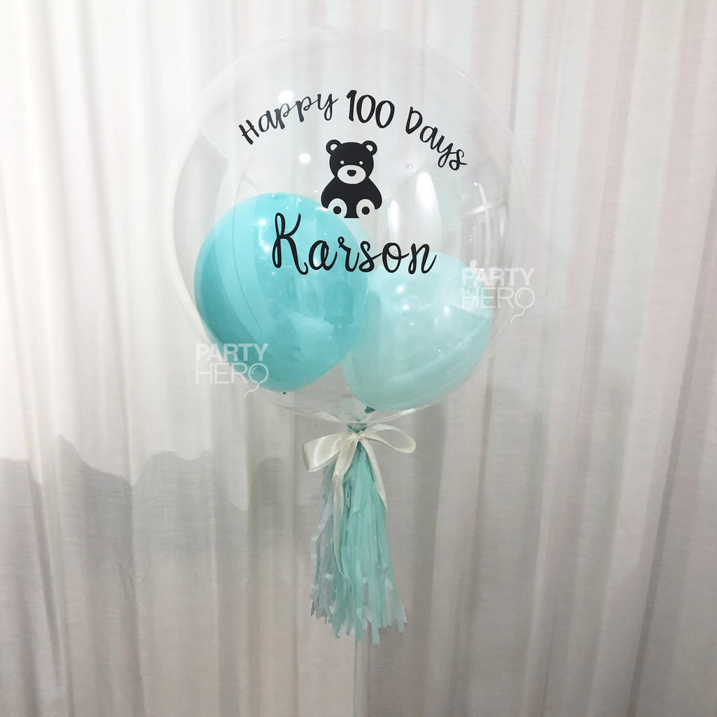 "24"" Personalized Clear Crystal Balloon with Message & Confetti / Feathers / Mini Balloons"