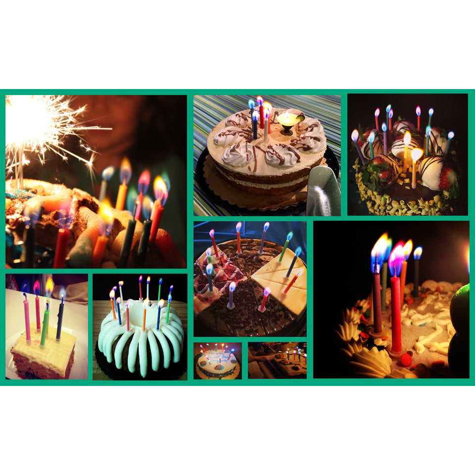 Colorflame Birthday Candles and Holders - Pack of 12