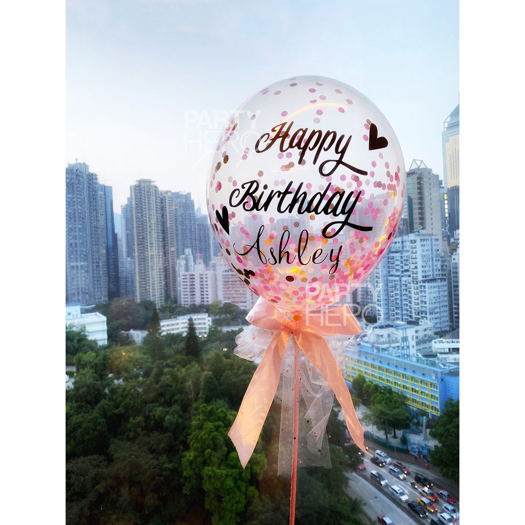 "[Birthday] 11"" Personalized Fairytale Air-Filled Confetti Balloon with Message"