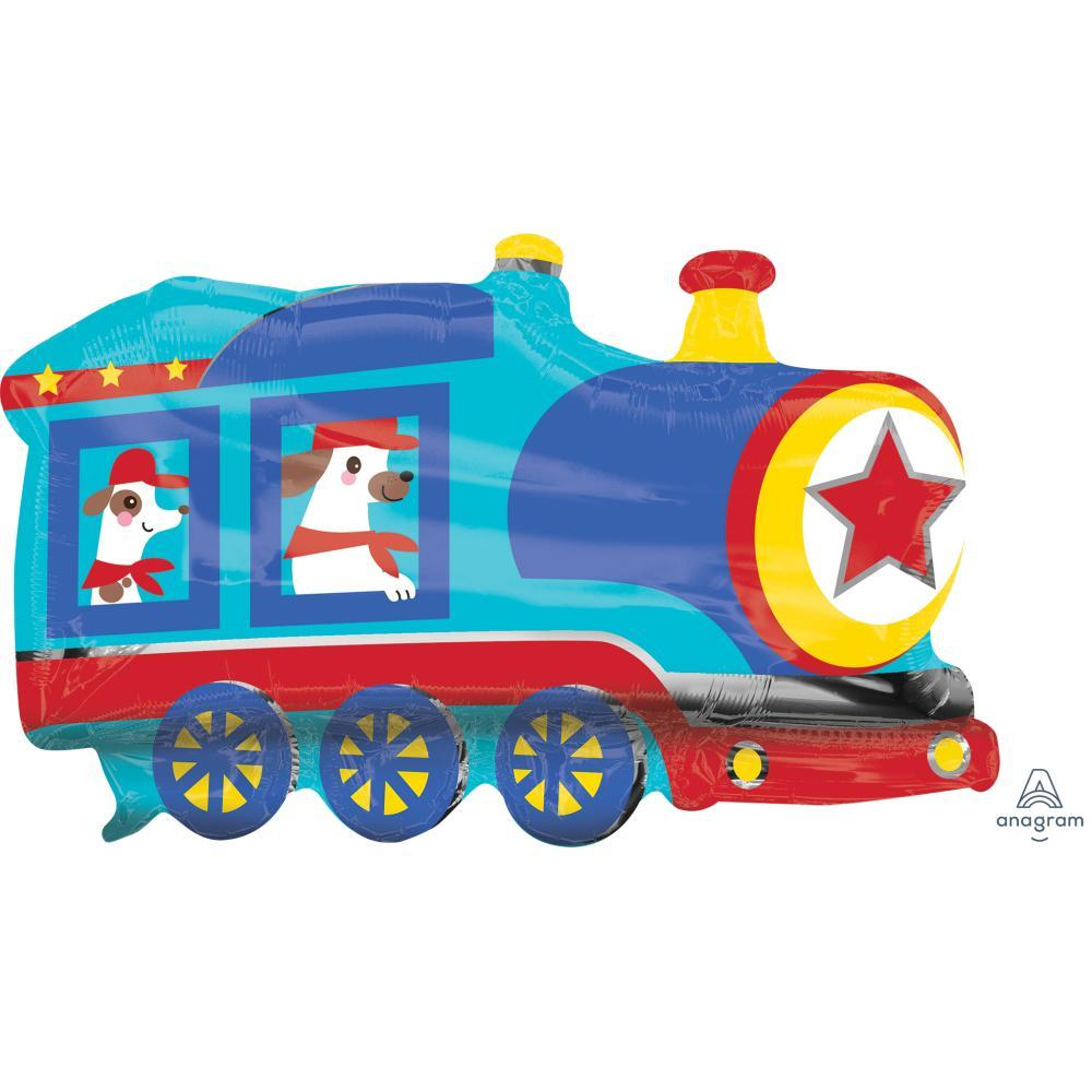 Happy Train Foil Balloon 30in x 20in / 76cm x 50cm