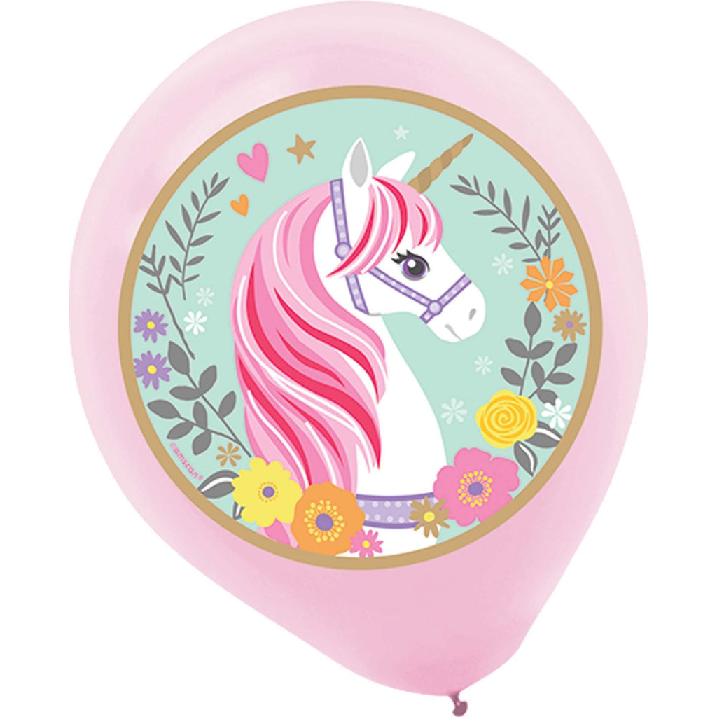 Magical Unicorn Round Printed Latex Balloon - Pack of 5 - 12in / 31cm