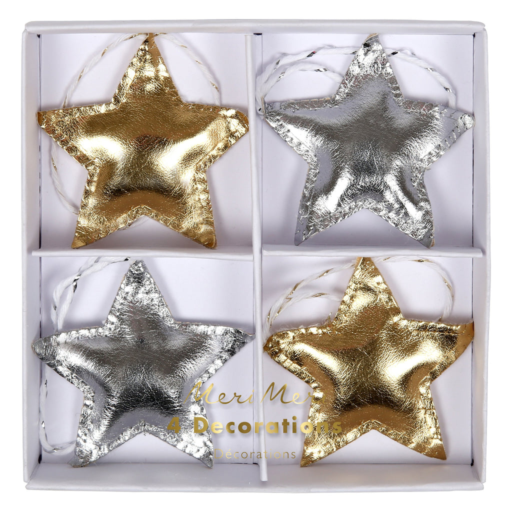 Metallic Star Ornaments - Pack of 4