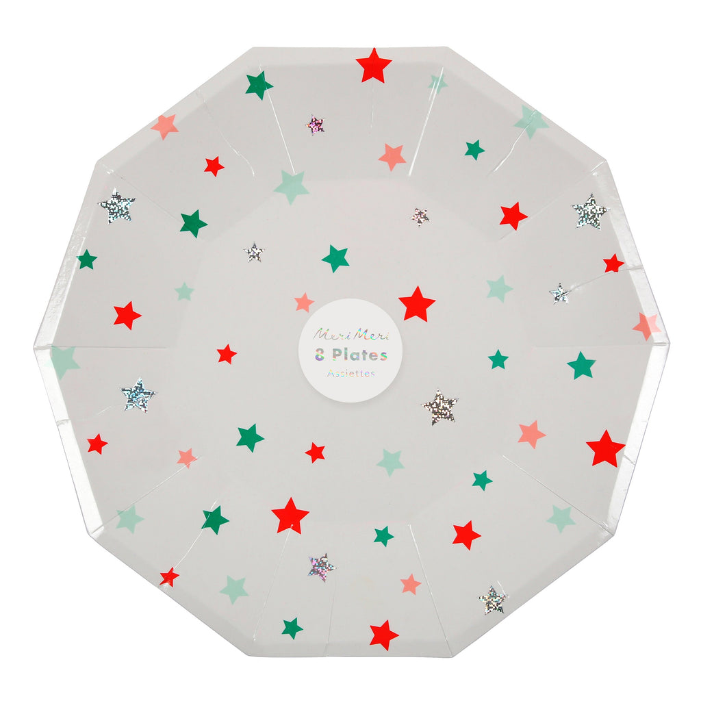 Star Pattern Large Paper Plates 9in - Pack of 8