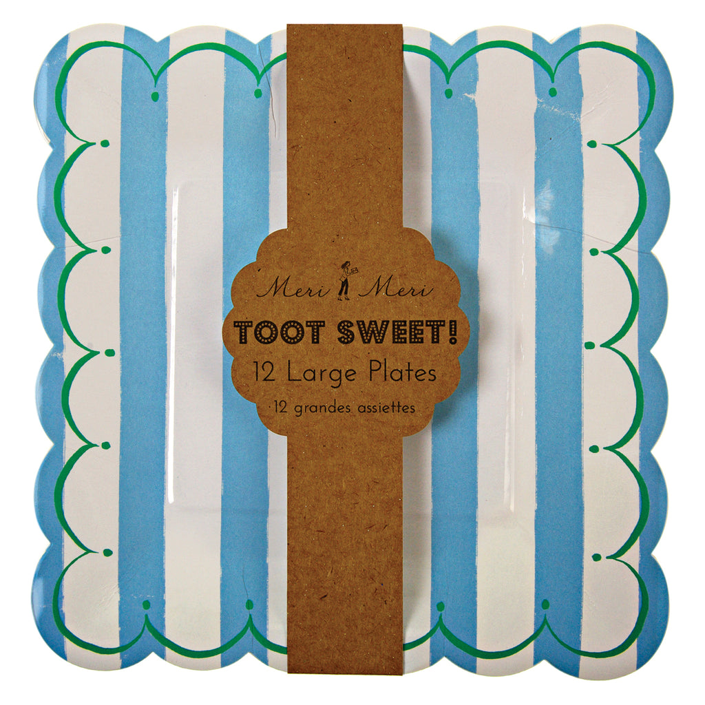 Toot Sweet Blue Large Plates - Pack of 12