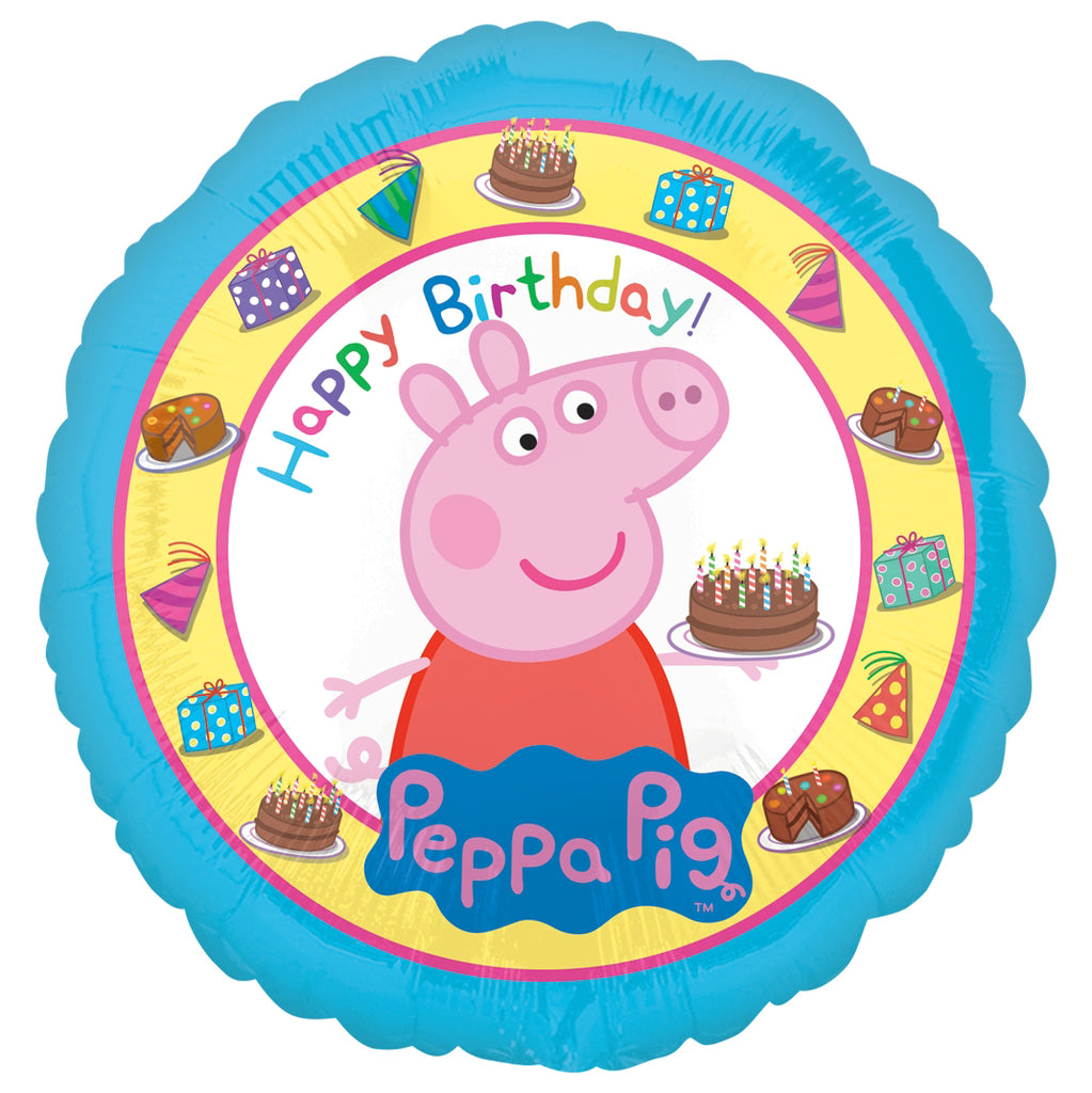 Peppa Pig Happy Birthday Round Foil Balloon 18in / 45cm