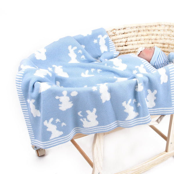 Baby Blanket Knitted Double Layer Soft Cellular Pram Blankets,Rabbit Patterns - ccbabe