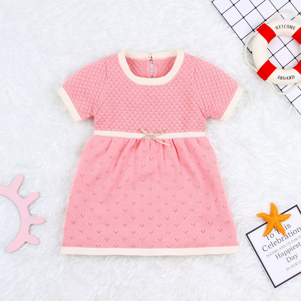Baby Girls Cotton Short Sleeve Sweater Dress - ccbabe