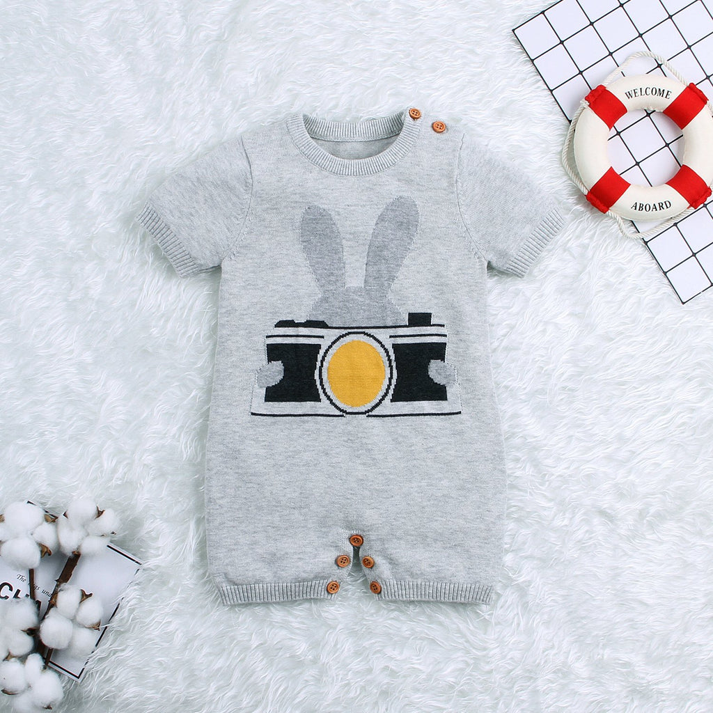 Baby Knit Romper Toddler Rabbit Pattern Sunsuit Short Sleeve Jumpsuit Clothes - ccbabe