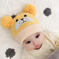 Winter 1-8 Months Baby Bear Hats Ball Knitted Cap - ccbabe