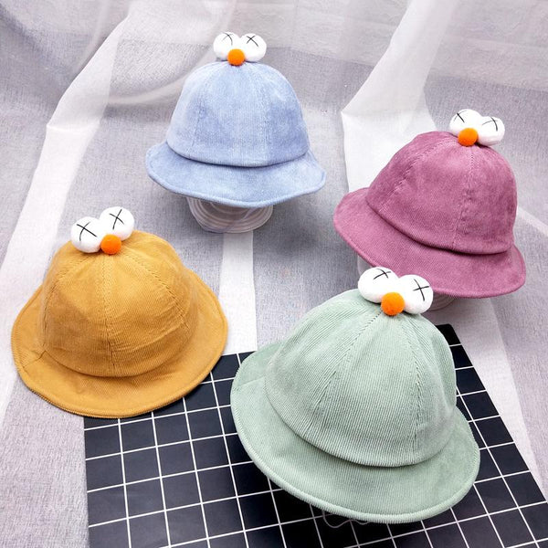 Children's Corduroy Hat Boy And Girl Cartoon Big Eyes Fisherman Hat - ccbabe