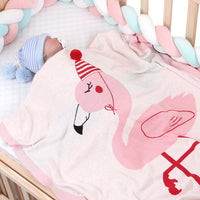 Baby Blanket Knit Cotton Toddler Blankets for Boys and Girls Swaddle Stroller Receiving Blankets with Cute Flamingo - ccbabe