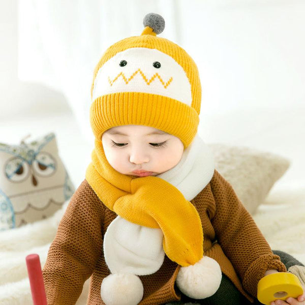 Winter Scarf Two Piece Set Baby Wool Hat Warm Boys and Girls Knitted Hat - ccbabe