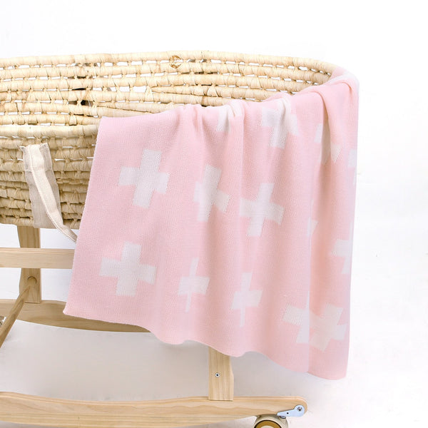 Baby Blankets Knitted Double Layer Soft Cellular Pram Blankets,Cross Swiss Pattern - ccbabe