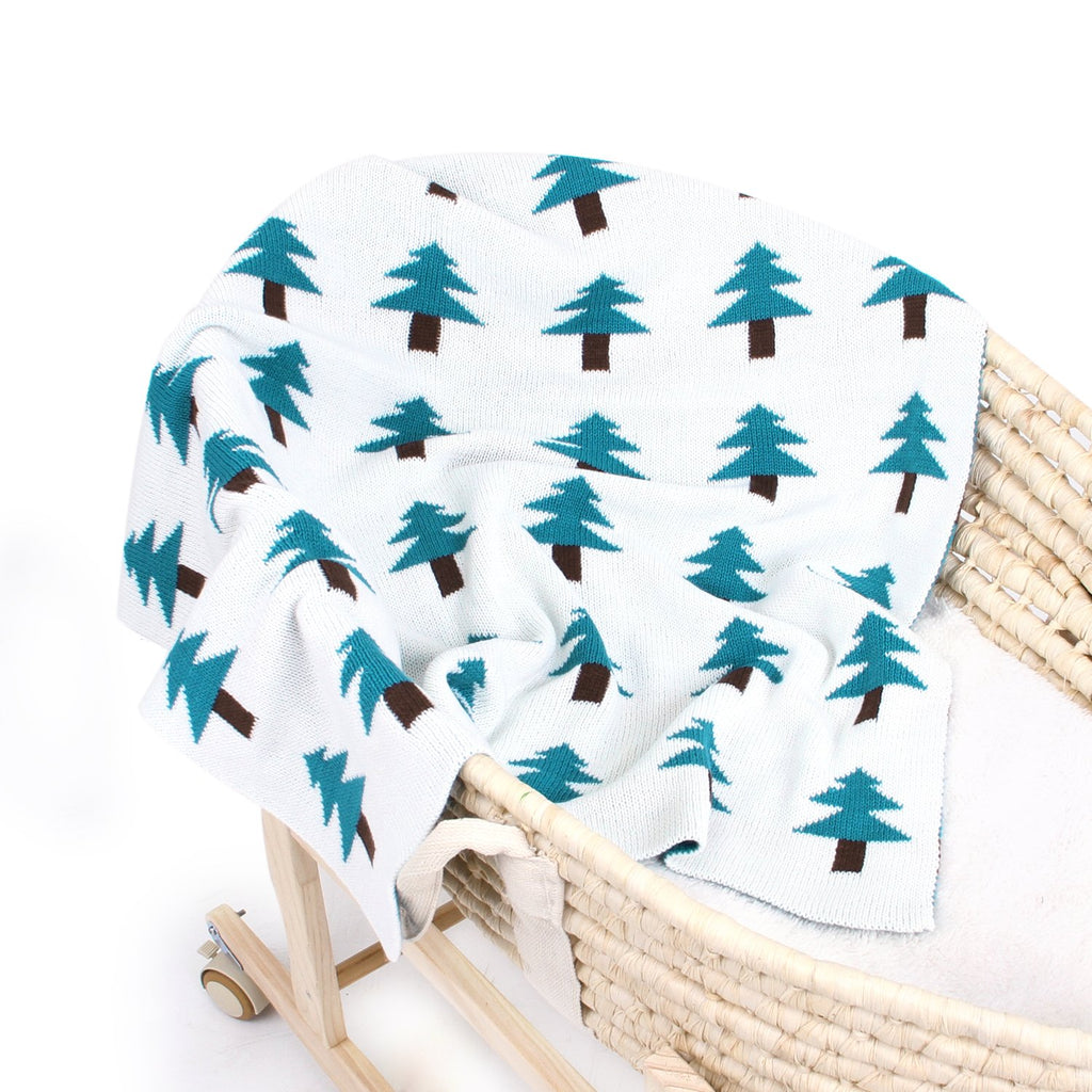 Baby Blankets Knitted Double Layer Soft Cellular Pram Blankets,Tree Pattern - ccbabe