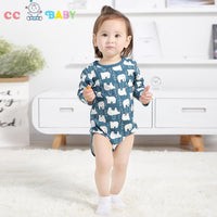 2pcs Baby Girl Clothes Floral Long Sleeve Footless Romper Jumpsuit Cotton - ccbabe