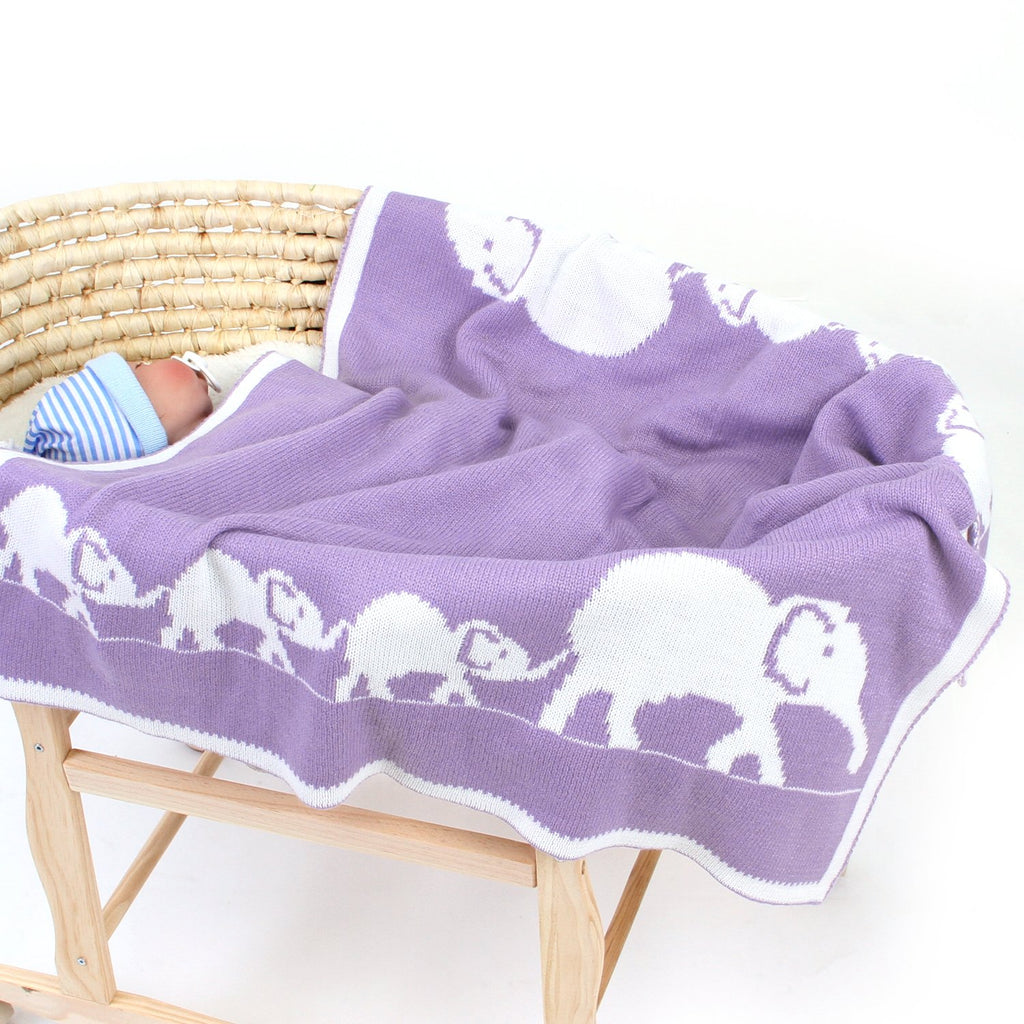 Baby Knitted Blanket Toddler Swaddle Wrap Elephant Pattern Stroller Blanket - ccbabe