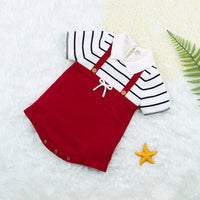 Baby Knitted Romper Polo Dresses Toddler Girls Short Sleeve Bodysuit Sunsuit Outfits - ccbabe