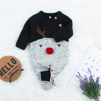 Baby Knitted Jumpsuits Toddler Red Reindeer Pattern Sweater Outfits for Christmas - ccbabe