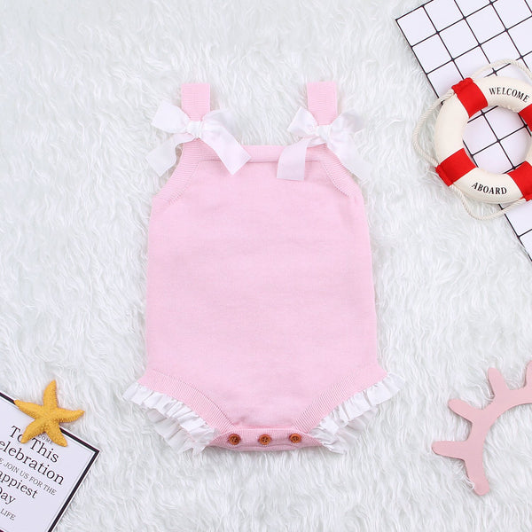 Knitted Baby Girls Bowknot Romper Toddler Sleeveless Princess Sling Jumpsuit Overalls Clothes - ccbabe