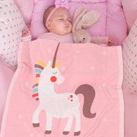Baby Blanket Knit Cotton Toddler Blankets for Boys and Girls Swaddle Stroller Receiving Blankets with Cute Unicorn - ccbabe