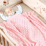 Toddler Blankets Knitted Cellular Baby Blankets for Boys and Girls