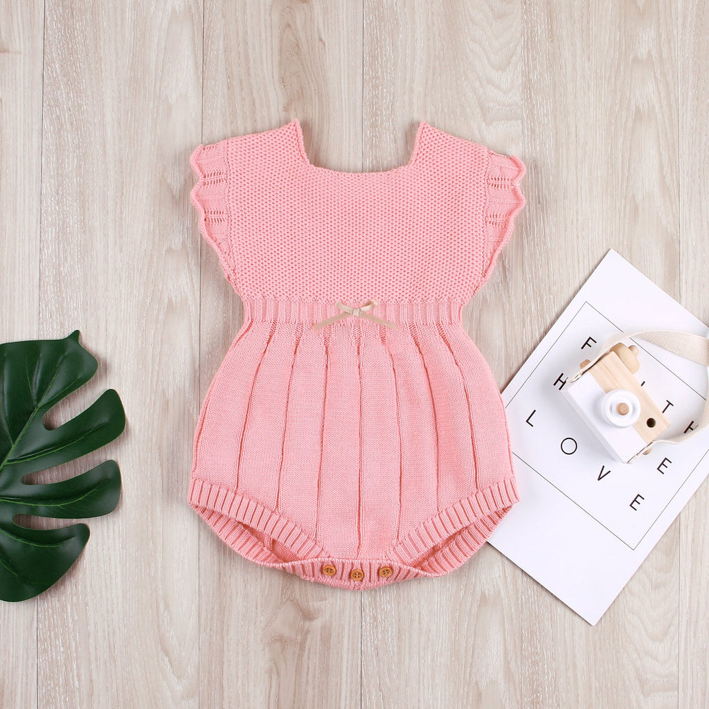 Baby Girl Romper Toddler Knit Bodysuit Ruffle Sleeve Clothing Outfit - ccbabe