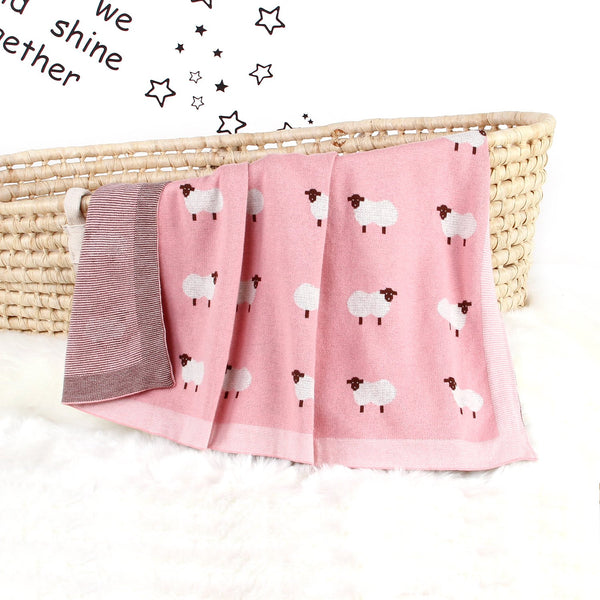 Baby Blanket Knit Cotton Toddler Blankets for Boys and Girls Swaddle Stroller Receiving Blankets with Cute Sheep - ccbabe