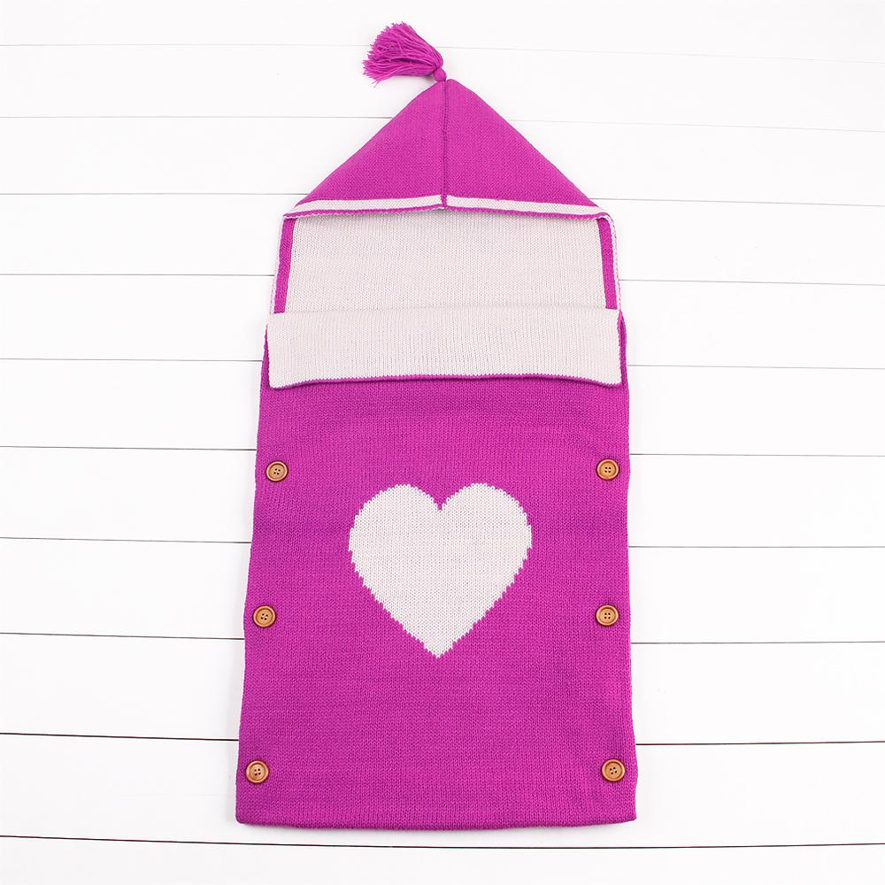 Nursery Swaddling Blankets Knit Baby Sleeping Bag Newborn Sleep Sack Stroller Unisex Wrap for Boy and Girl With Heart Pattern - ccbabe