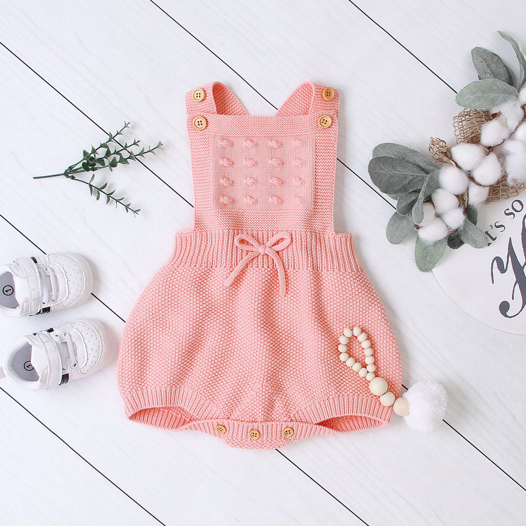 Baby Romper Girls Knitted One Piece Jumpsuit Bodysuit Cute Strap Sleeveless Outfits - ccbabe