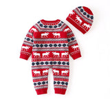 Ins Baby Long Sleeve Christmas Deer Jumpsuit Christmas Hats Set - ccbabe