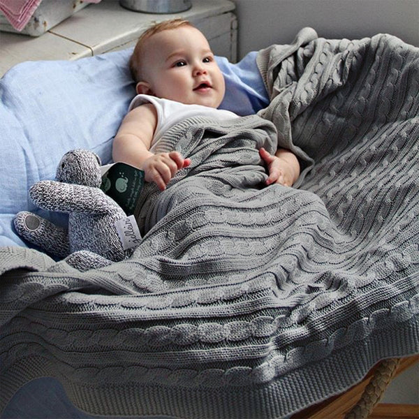 Baby Blanket Toddler Knitted Blankets Cable Throw Blanket for Boys and Girls