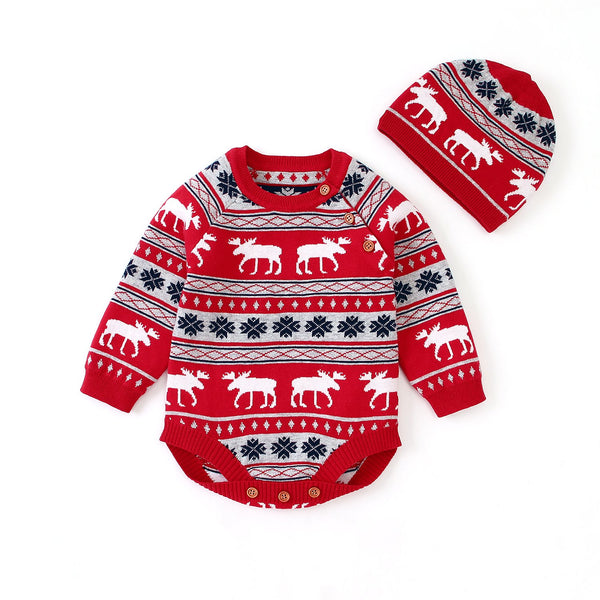 Ins Baby Long Sleeve Christmas Deer Jumpsuit Christmas Hat Set - ccbabe