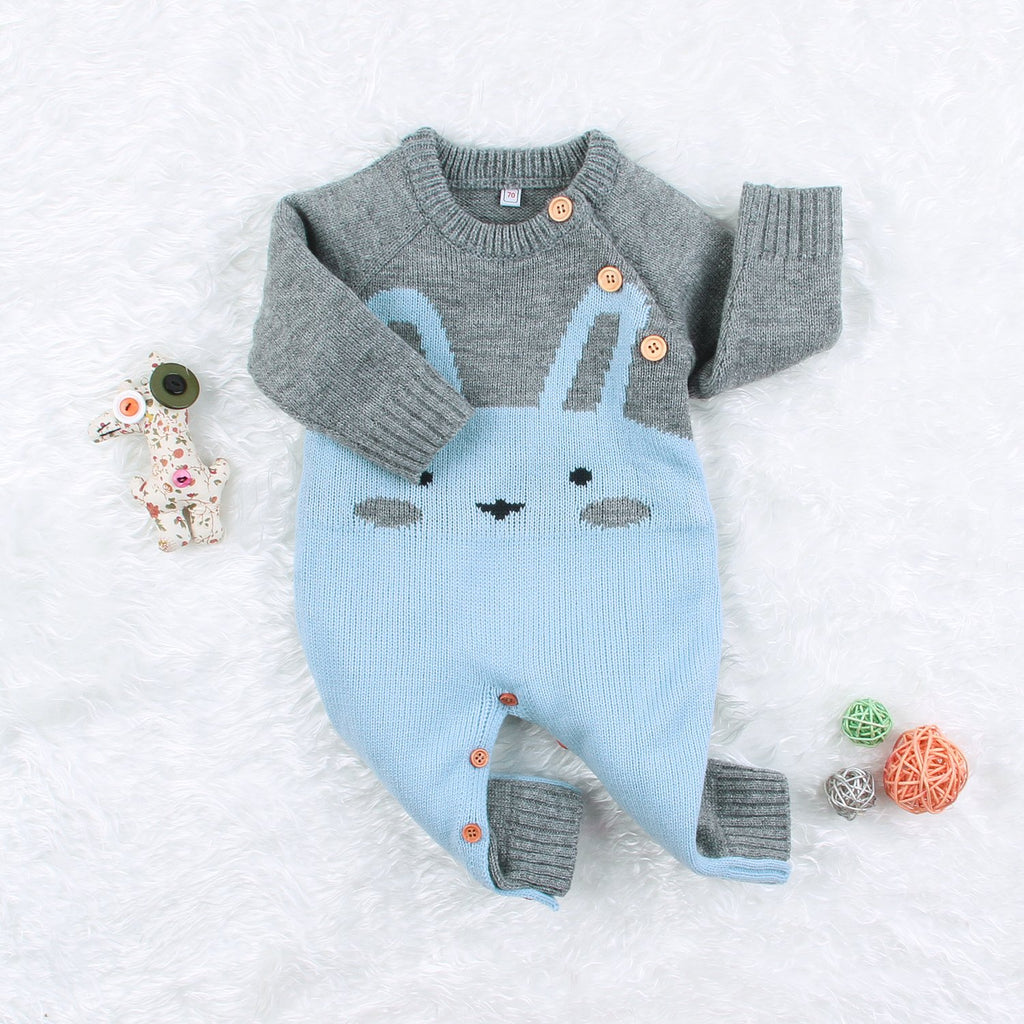 Boys Girls Rabbit Crochet Hauns Jumpsuits Sweater Baby Kid's Bodysuits Outfits - ccbabe