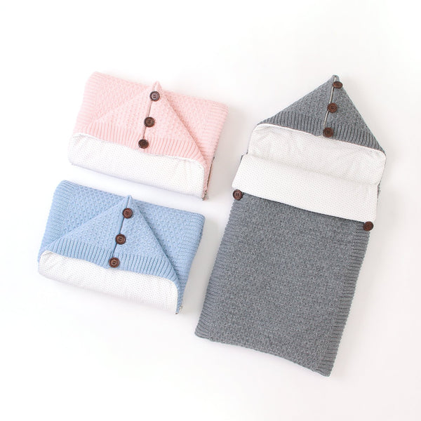 Newborn Baby Swaddle Wrap Blanket Fleece Thick Knit Sleeping Bag for Boys and Girls - ccbabe