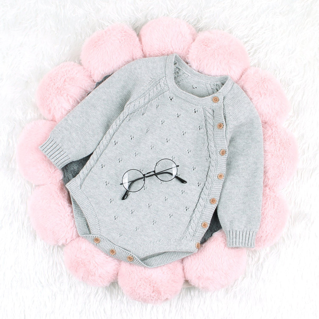 Fashion Baby Girls Long-Sleeved Piece Stripe Knit Lapel Romper - ccbabe