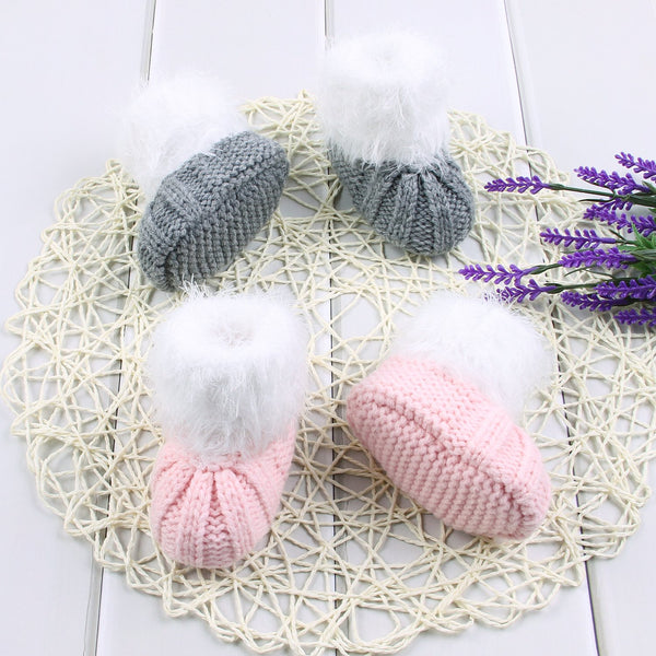 Baby Crochet Prewalker Boots Premium Soft Sole Kids Bowknot Winter Warm Knit Shoes - ccbabe