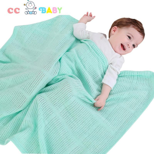 Soft 100% Cotton Knit Cute Breathable Baby Blanket for Girls or Boys