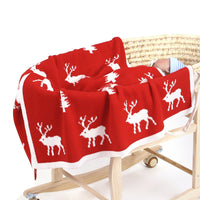 Baby Blankets Knitted Double Layer Soft Cellular Pram Blankets,Elk Patterns - ccbabe