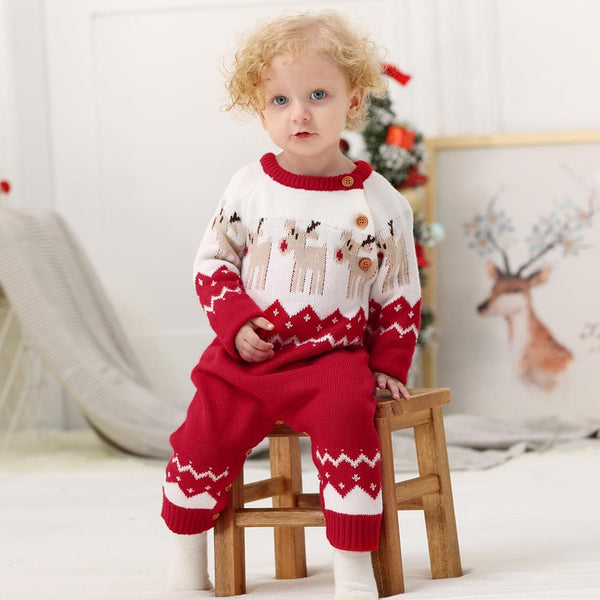 Baby Christmas Sweater Toddler Reindeer Outfit Red Clothes - ccbabe